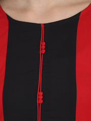 Red 3/4th sleeve cotton Straight kurta