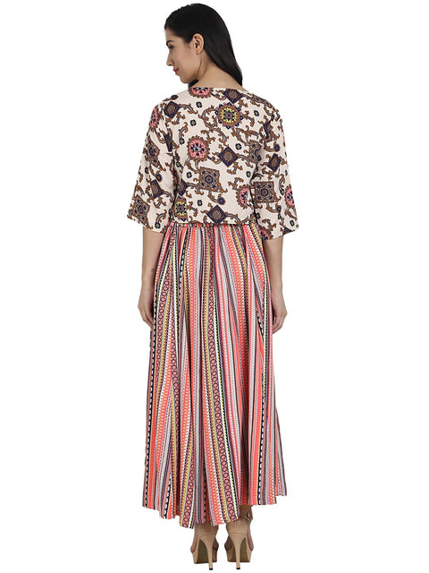white printed 3/4th sleeve crepe A-line kurta with peach printed palazzo