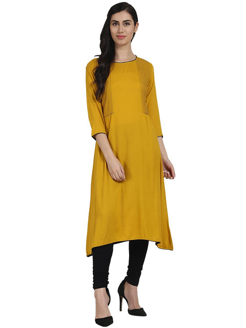 Solid Yellow 3/4th Sleeve rayon A-line Kurta with pleats work at yoke