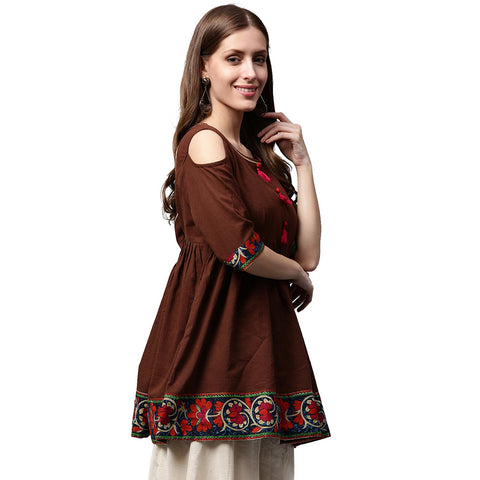Coffee color 3/4th Sleeve Cold shoulder cotton Cropped Anarkali kurta