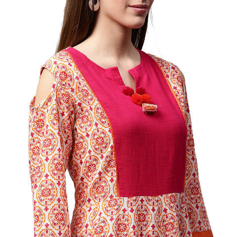 Peach printed 3/4th sleeve cold shoulder cotton slub Anarkali kurta