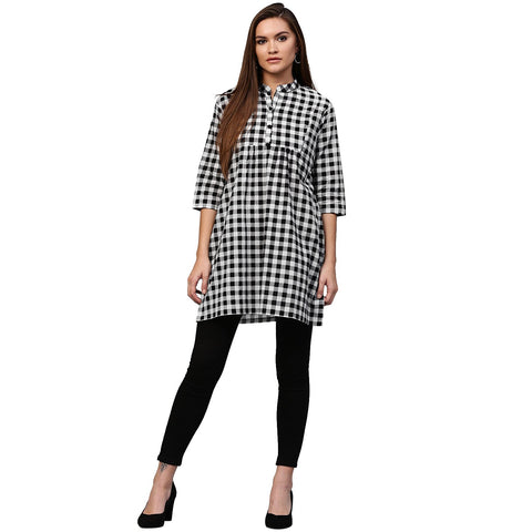 Black printed 3/4th Sleeve Cotton tunic