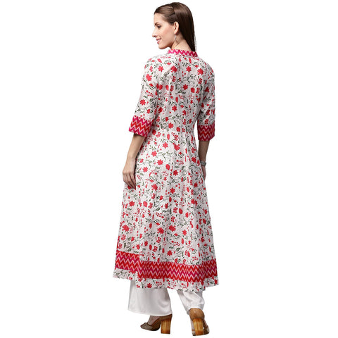 White & Red printed 3/4th Sleeve Cotton Anarkali Kurta