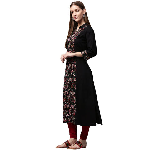 Black printed 3/4th sleeve cotton A-line Kurta