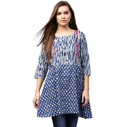 Blue printed 3/4th Sleeve Cotton A-line Tunics