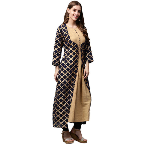 Navy Blue printed Full Sleeve Cotton double layer Anarkali kurta