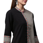 Black printed 3/4th Sleeve cotton Straight kurta