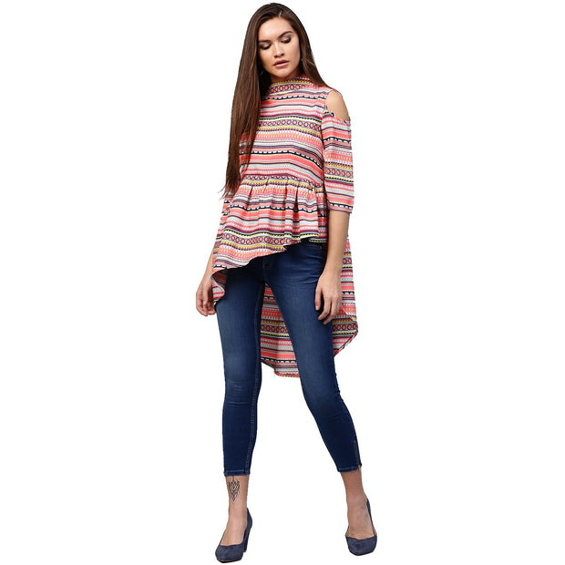 Multi printed 3/4th Sleeve cold shoulder Assymetric tunic
