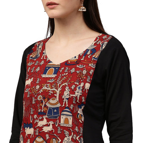 Black printed 3/4th Sleeve Anarkali Kurta with Double layer in front