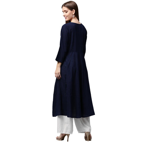 Navy blue 3/4th sleeve cotton slub anarkali kurta