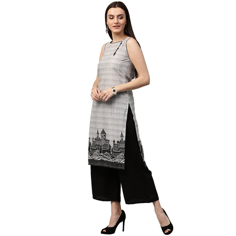 Beige printed sleeveless cotton straight kurta