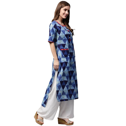 Blue printed half sleeve Cotton Straight kurta with pocket