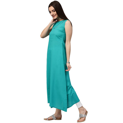 Blue sleeveless cotton A-line kurta