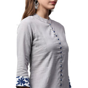 Off white 3/4th Sleeve Cotton A-line kurta