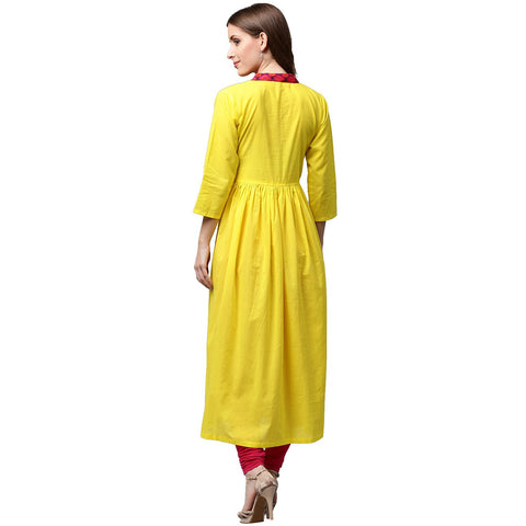 Yellow 3/4th sleeve cotton Anarkali kurta