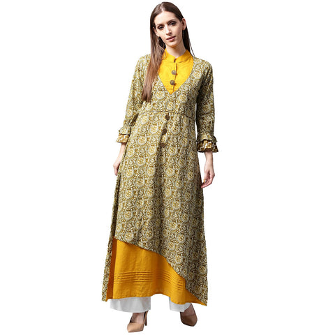Yellow & Green printed 3/4th sleeve Cotton double layer A-line kurta