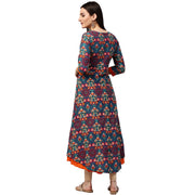 Blue & Orange printed 3/4th sleeve Cotton double layer A-line kurta