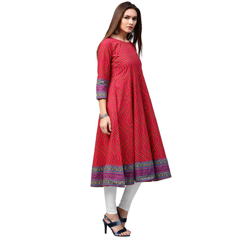 Red printed 3/4th sleeve cotton Anarkali kurta