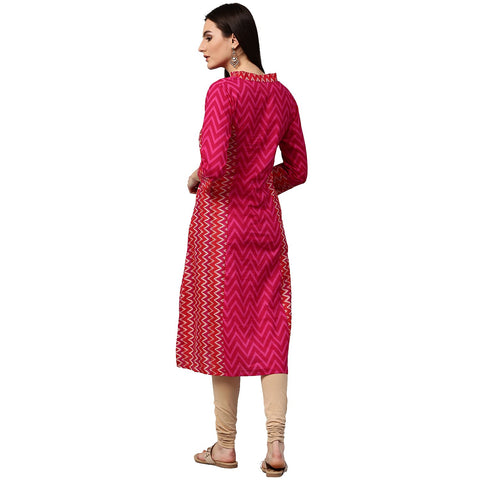 Pink & Red printed 3/4th sleeve cotton Assymetric kurta