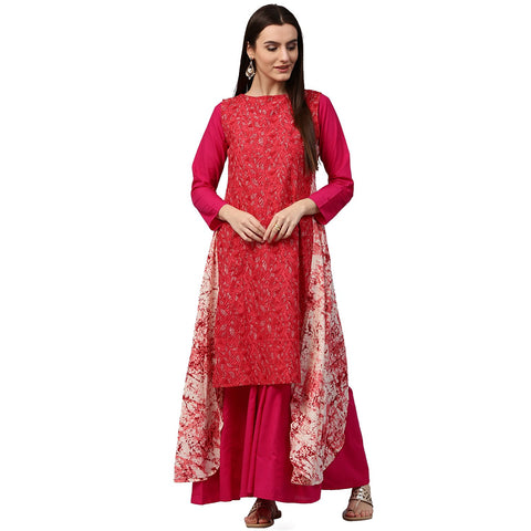 Red printed sleeveless cotton Assymetric kurta