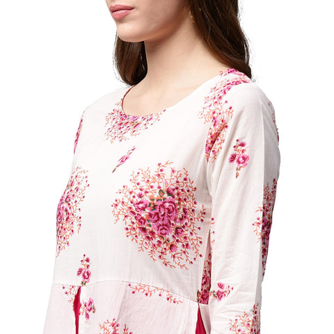 White printed 3/4th sleeve cotton double layer kurta