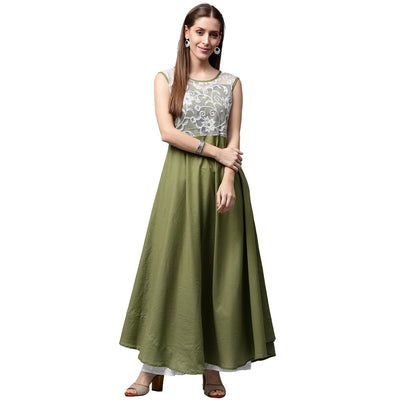 Green sleeveless cotton anarkali kurta with net work at yoke