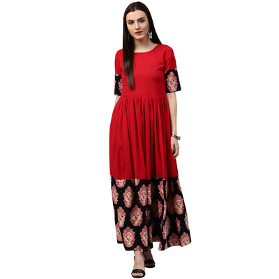 Red and black printed half sleeve cotton A-line kurta