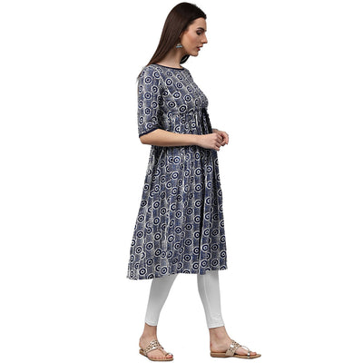 Blue printed half sleeve cotton cropped anarkali kurta