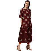 Maroon printed half sleeve cotton kurta