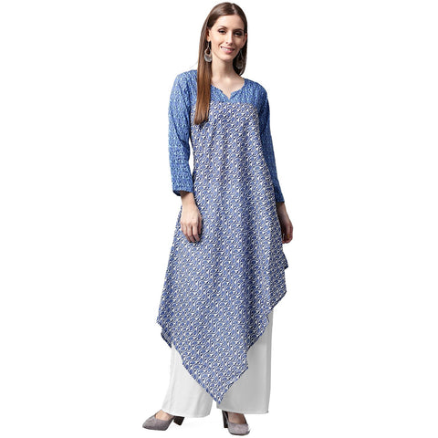 Blue printed 3/4th sleeve cotton A-line kurta