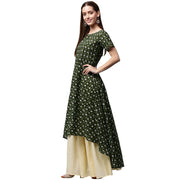 Green printed half sleeve cotton low high A-line kurta with Off white palazzo
