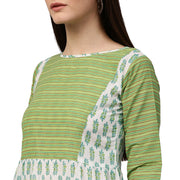 White & green printed 3/4th sleeve cotton Anarkali kurta