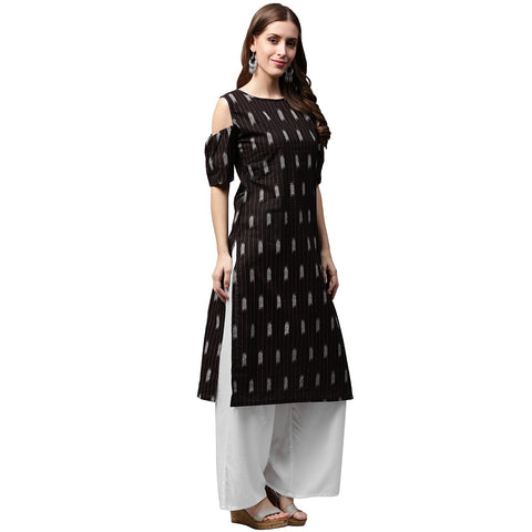 Black printed half sleeve cold shoulder kurta