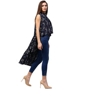 Navy Blue printed Sleeveless crepe Low High tunics