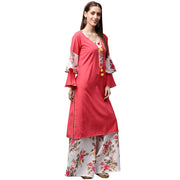 Red 3/4th sleeve crepe kurta with tussel work at yoke with white printed palazzo