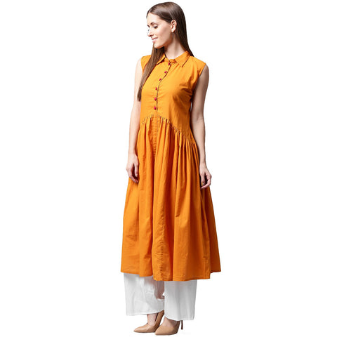 Mustard sleeveless cotton Anarkali kurta