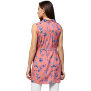 Peach printed sleeveless Rayon A-line tunic