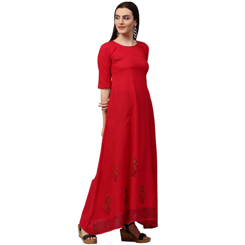 Red block print half sleeve cotton A-line kurta