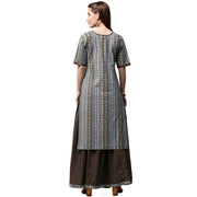 Grey printed half sleeve cotton kurta with black skirt