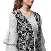 White printed 3/4th sleeve cotton A-line kurta with black printed jacket