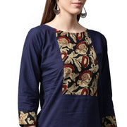 Blue printed 3/4th sleeve cotton kurta with maroon skirt