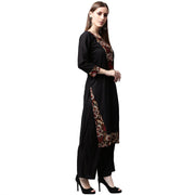Black printed 3/4th sleeve cotton kurta
