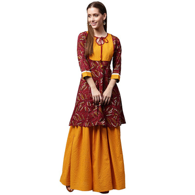 Red printed 3/4th sleeve cropped anarkali kurta with yellow printed skirt