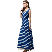 Blue tie dye sleeveless cotton A-line kurta