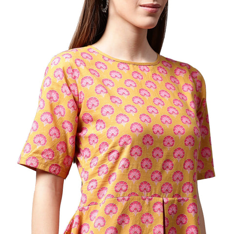Yellow printed half sleeve cotton A-line kurta