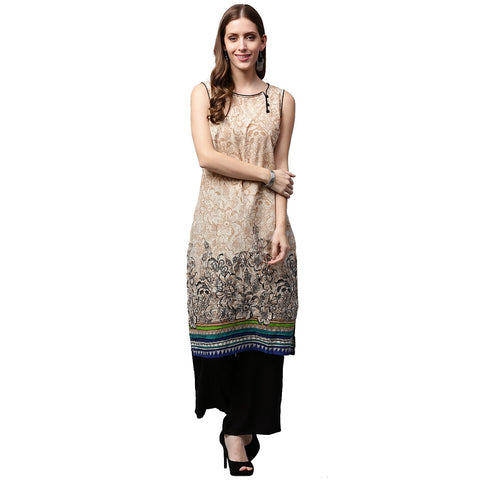 Off White printed sleeveless cotton kurta