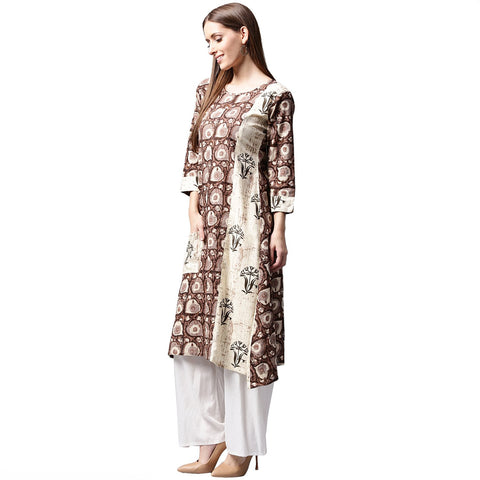 Coffee brown printed 3/4th sleeve cotton kurta with side pocket
