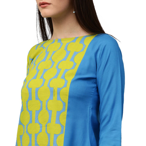 Green printed 3/th sleeve cotton kurta