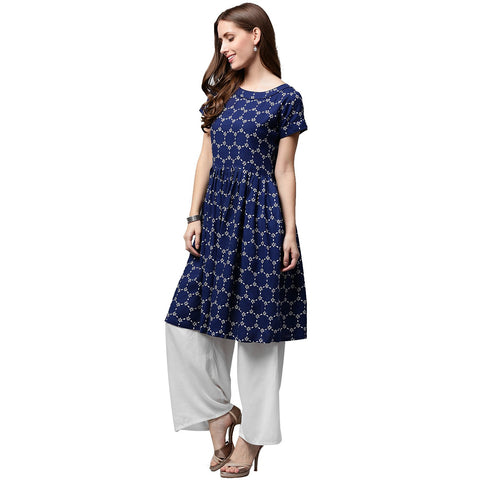 Blue printed cap sleeve cotton cropped anarkali kurta