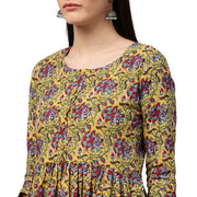 Yellow printed 3/4th sleeve cotton Anarkali kurta